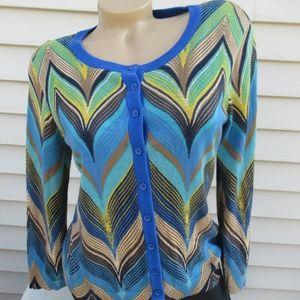 TABITHA Cotton Buttoned Knit Cardigan Sweater M